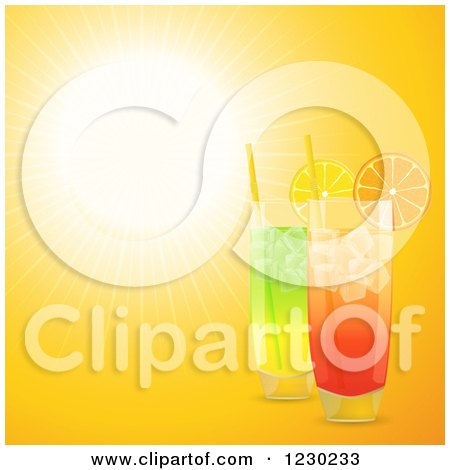 Clipart of a 3d Cocktail Drinks in Highball Glasses over Sunshine - Royalty Free Vector Illustration by elaineitalia