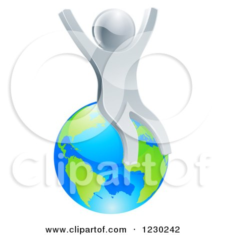 Clipart of a 3d Silver Man Cheering and Sitting on Earth - Royalty Free Vector Illustration by AtStockIllustration