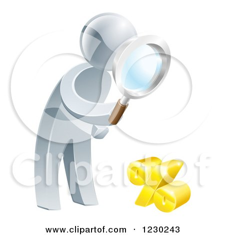 3d Silver Man Peering Through a Magnifying Glass at a Percent Symbol Posters, Art Prints