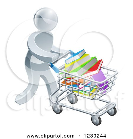 Clipart of a 3d Silver Man Pushing a Shopping Cart Full of Books - Royalty Free Vector Illustration by AtStockIllustration