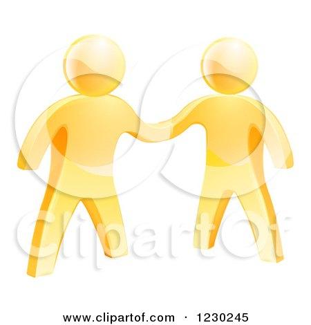 3d Gold Men Shaking Hands Posters, Art Prints
