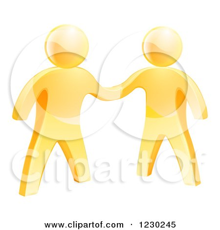 Clipart of 3d Gold Men Shaking Hands - Royalty Free Vector Illustration by AtStockIllustration