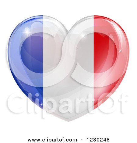 Clipart of a 3d Reflective French Flag Heart - Royalty Free Vector Illustration by AtStockIllustration