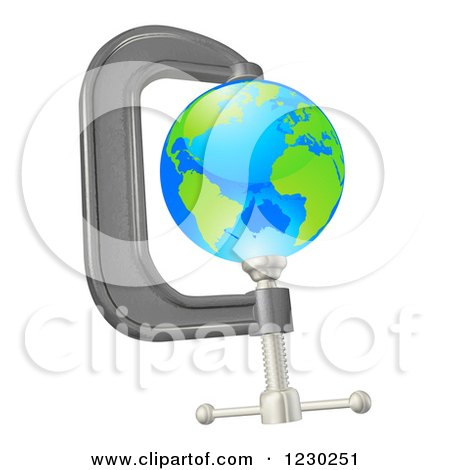 Clipart of a 3d Earth in a Tight Clamp - Royalty Free Vector Illustration by AtStockIllustration