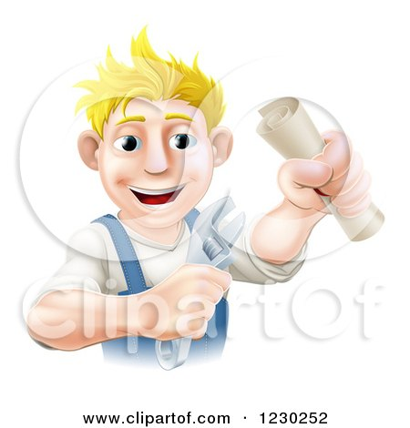 Clipart of a Happy Worker Man Holding a Spanner Wrench and Degree - Royalty Free Vector Illustration by AtStockIllustration