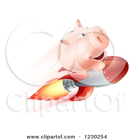 Clipart of a Flying Piggy Bank on a Rocket - Royalty Free Vector Illustration by AtStockIllustration