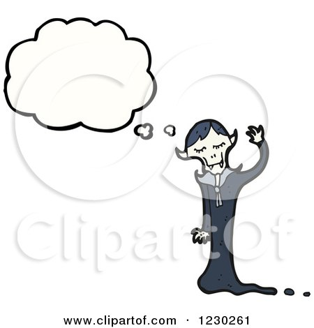 Clipart of a Thinking Vampire - Royalty Free Vector Illustration by lineartestpilot