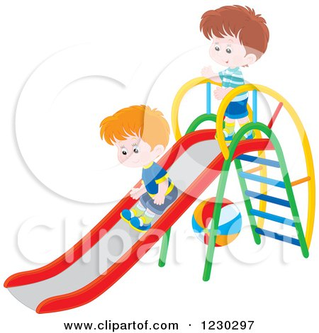 Clipart of Boys Playing on a Slide - Royalty Free Vector Illustration by Alex Bannykh