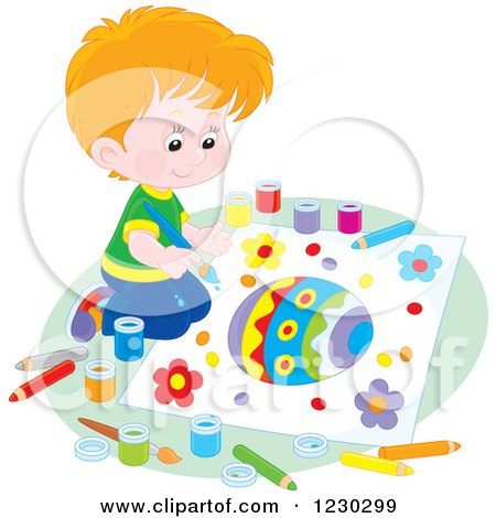 Clipart of a Caucasian Boy Painting a Picture of an Easter Egg - Royalty Free Vector Illustration by Alex Bannykh