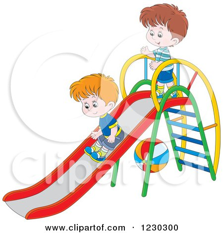 Clipart of White Boys Playing on a Slide - Royalty Free Vector Illustration by Alex Bannykh