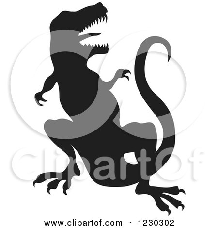 Clipart of a Black Silhouetted Vicious T Rex - Royalty Free Vector Illustration by Andy Nortnik