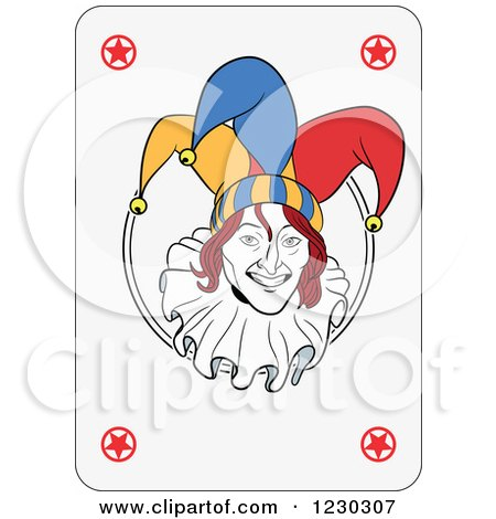 Clipart of a Joker Playing Card - Royalty Free Vector Illustration by Frisko