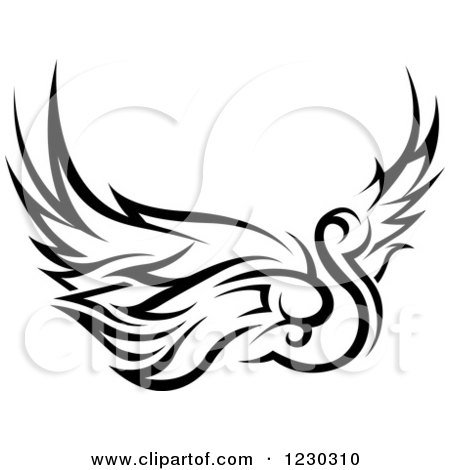 Clipart of a Black and White Tribal Swan Tattoo Design - Royalty Free Vector Illustration by dero