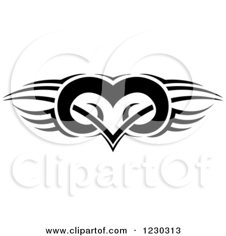 Clipart of a Black and White Tribal Winged Heart Tattoo Design - Royalty Free Vector Illustration by dero