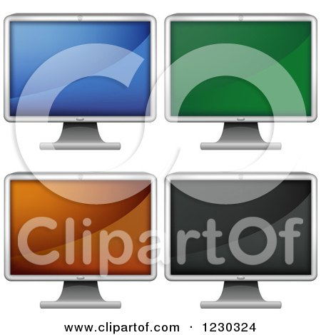 Clipart of Lcd Monitors with Different Screen Colors - Royalty Free Vector Illustration by dero