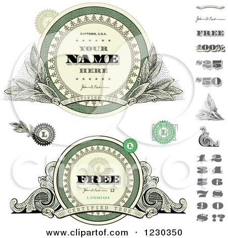 Clipart of Money Themed Labels and Numbers with Sample Text - Royalty Free Vector Illustration by BestVector