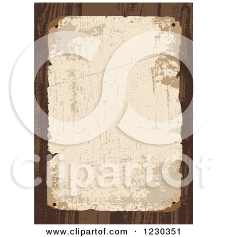 Clipart of a Distressed Aged Posted Paper over Wood - Royalty Free Vector Illustration by BestVector