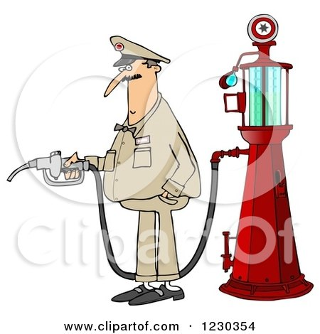 Clipart of a Male Attendant by an Old Fashioned Gas Pump - Royalty Free Illustration by djart
