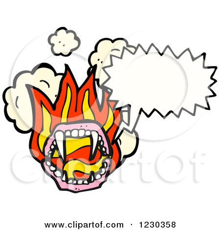 Clipart of a Talking Flaming Vampire Mouth - Royalty Free Vector Illustration by lineartestpilot