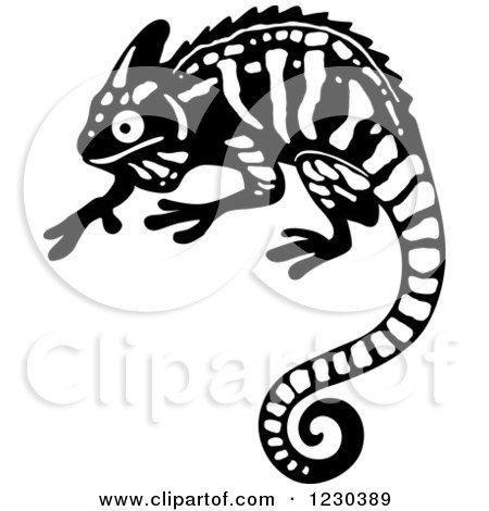 Clipart of a Black and White Chameleon Lizard 2 - Royalty Free Vector Illustration by Vector Tradition SM