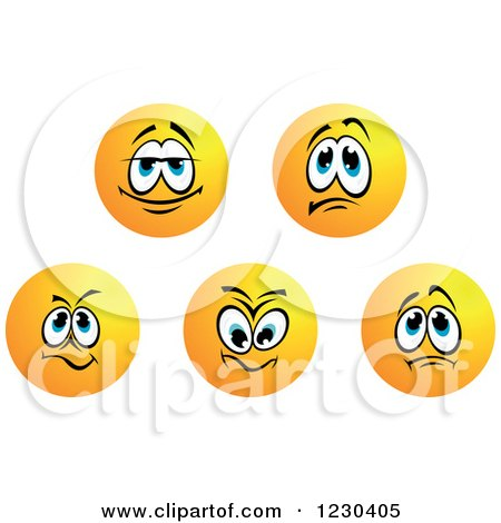 Clipart of Round Yellow Smiley Face Emoticons in Different Moods 2 - Royalty Free Vector Illustration by Vector Tradition SM