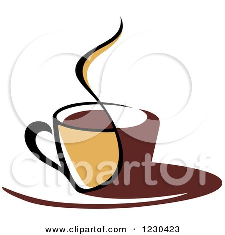 Clipart of a Tan and Brown Hot Steamy Coffee Cup 2 - Royalty Free Vector Illustration by Vector Tradition SM