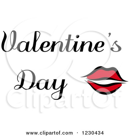 Clipart of Red Lips with Valentines Day Text - Royalty Free Vector Illustration by Vector Tradition SM