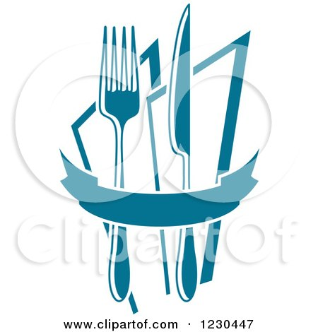 Clipart of a Blue Banner with a Knife Fork and Napkins - Royalty Free Vector Illustration by Vector Tradition SM