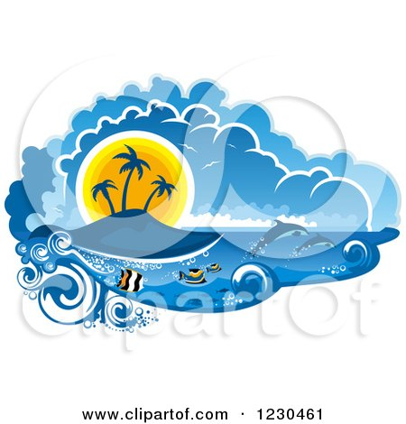 Clipart of a Sunset Island with Fish and Dolphins - Royalty Free Vector Illustration by Vector Tradition SM