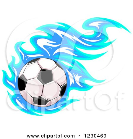 Clipart of a Soccer Ball with Blue Flames - Royalty Free Vector Illustration by Vector Tradition SM