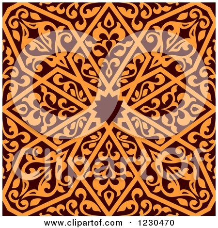 Clipart of a Seamless Brown and Orange Arabic or Islamic Design 6 - Royalty Free Vector Illustration by Vector Tradition SM
