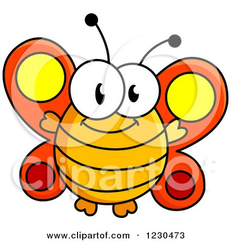 Clipart of a Happy Orange Butterfly - Royalty Free Vector Illustration by Vector Tradition SM