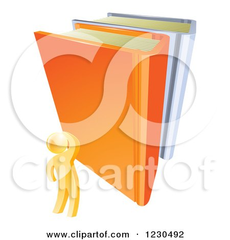Clipart of a 3d Gold Person Looking up at Giant Books - Royalty Free Vector Illustration by AtStockIllustration