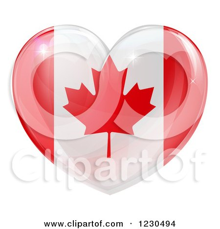 Clipart of a 3d Reflective Canadian Flag Heart - Royalty Free Vector Illustration by AtStockIllustration