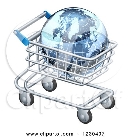 Clipart of a 3d Blue Grid Globe in a Shopping Cart - Royalty Free Vector Illustration by AtStockIllustration