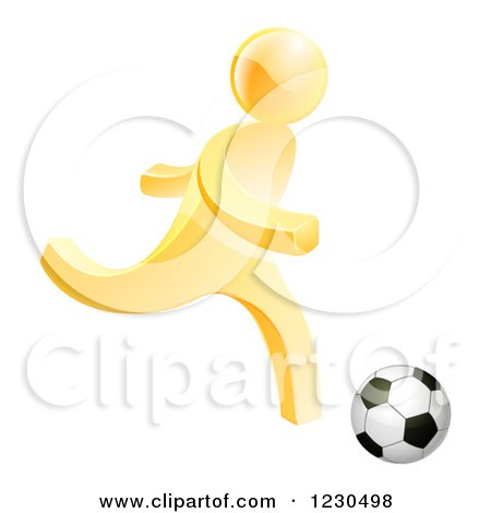 Clipart of a 3d Gold Person Playing Soccer - Royalty Free Vector Illustration by AtStockIllustration