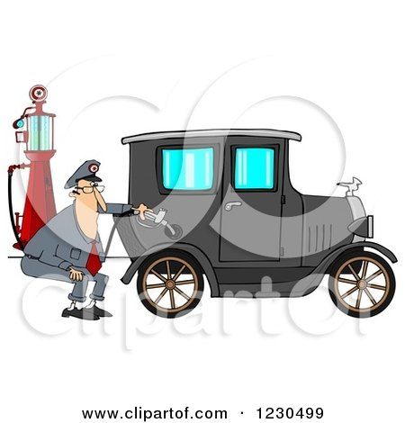 Clipart of a Male Attendant Pumping an Antique Car with an Old Fashioned Gas Pump - Royalty Free Illustration by djart