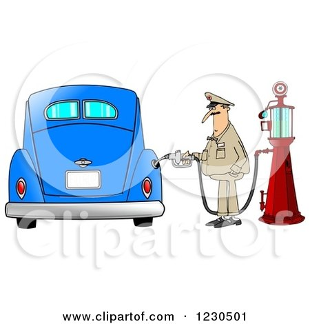 Clipart of a Male Attendant Pumping an Antique Blue Car with an Old Fashioned Gas Pump - Royalty Free Illustration by djart
