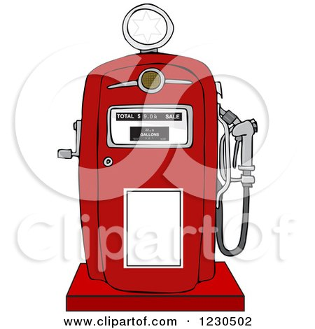 Clipart of a Retro Red Gas Pump - Royalty Free Vector Illustration by djart