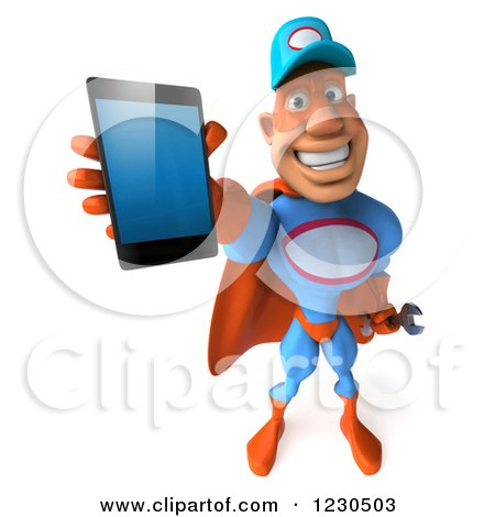 Clipart of a 3d Super Hero Mechanic Holding out a Smartphone - Royalty Free Illustration by Julos