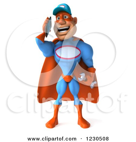 Clipart of a 3d Super Hero Mechanic Talking on a Smartphone - Royalty Free Illustration by Julos