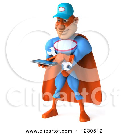 Clipart of a 3d Super Hero Mechanic Texting on a Smartphone - Royalty Free Illustration by Julos
