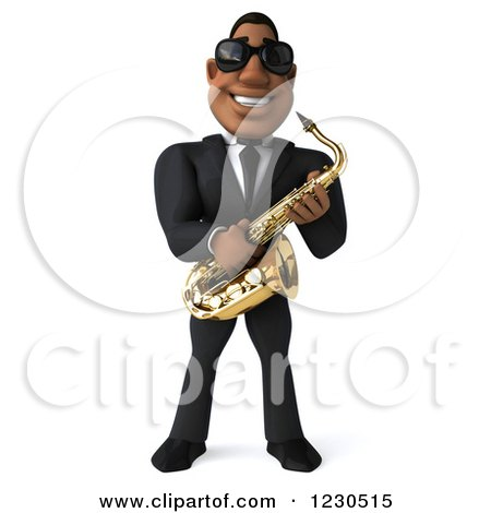 Clipart of a 3d Black Man in a Suit and Sunglasses, Playing a Saxophone - Royalty Free Illustration by Julos