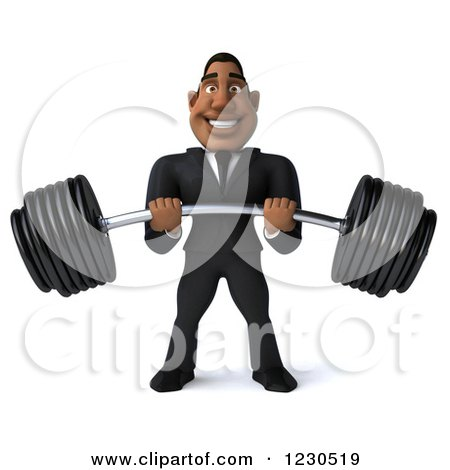 Clipart of a 3d Black Businessman Holding a Heavy Barbell - Royalty Free Illustration by Julos