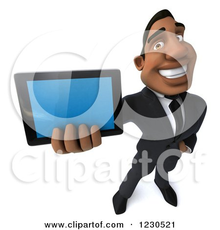 Clipart of a 3d Black Businessman Holding out a Tablet Computer - Royalty Free Illustration by Julos