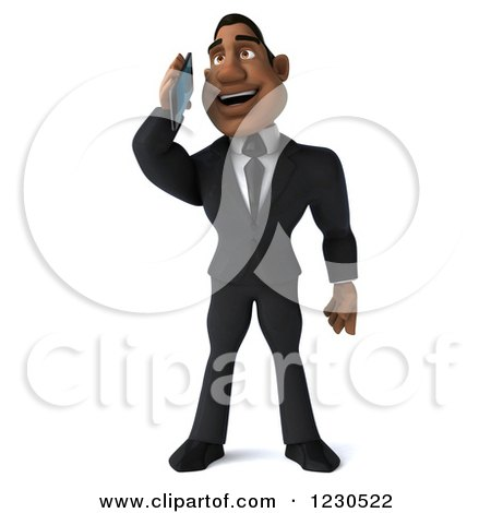 Clipart of a 3d Black Businessman Talking on a Smartphone - Royalty Free Illustration by Julos