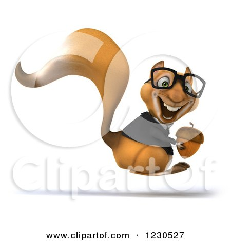 Clipart of a 3d Bespectacled Business Squirrel Hopping with an Acorn - Royalty Free Illustration by Julos