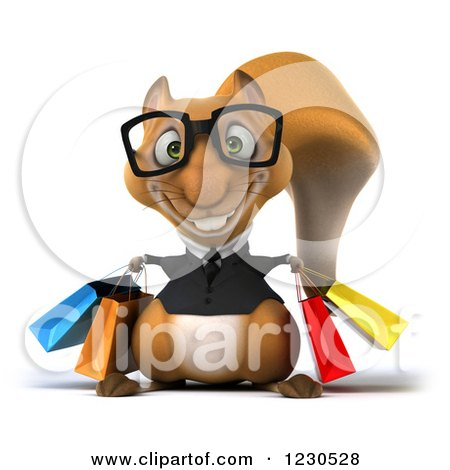 Clipart of a 3d Bespectacled Business Squirrel with Shopping Bags - Royalty Free Illustration by Julos