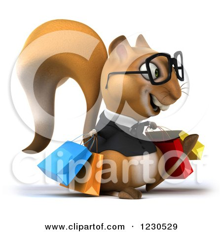 Clipart of a 3d Bespectacled Business Squirrel with Shopping Bags 2 - Royalty Free Illustration by Julos
