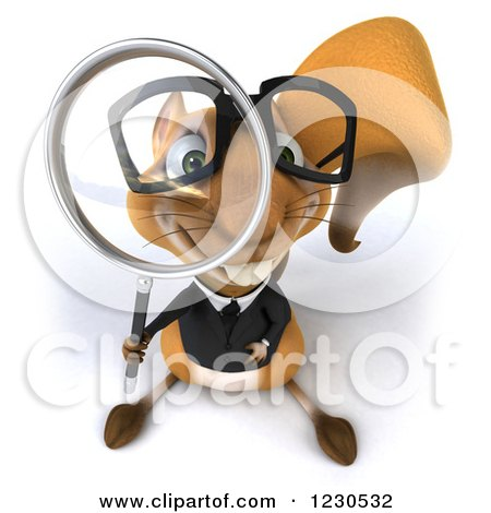 Clipart of a 3d Business Squirrel Looking Through a Magnifying Glass - Royalty Free Illustration by Julos